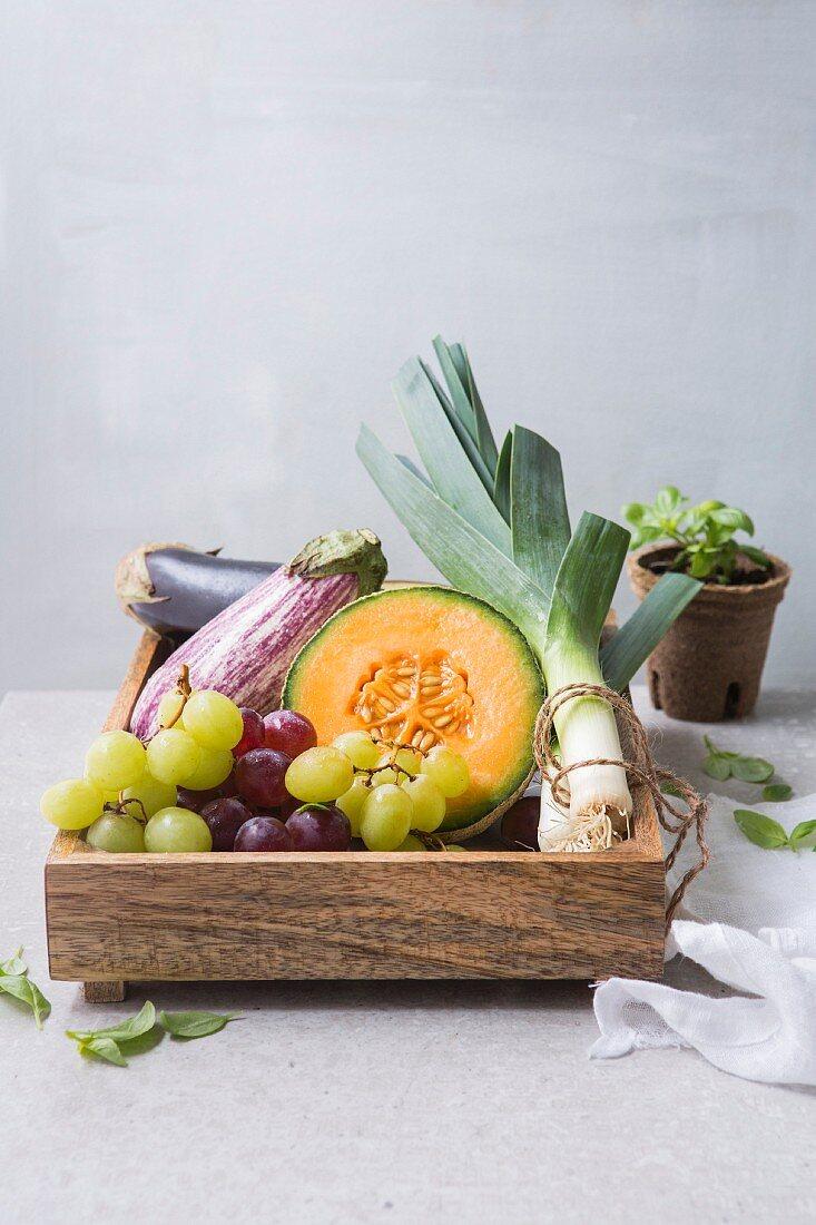An arrangement of vegetables and fruit