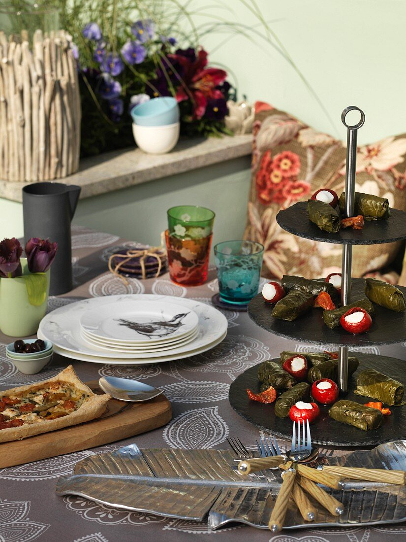 Food and tableware on table outside