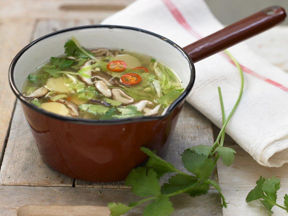 Asian cabbage soup with tofu, bamboo and shiitake mushrooms