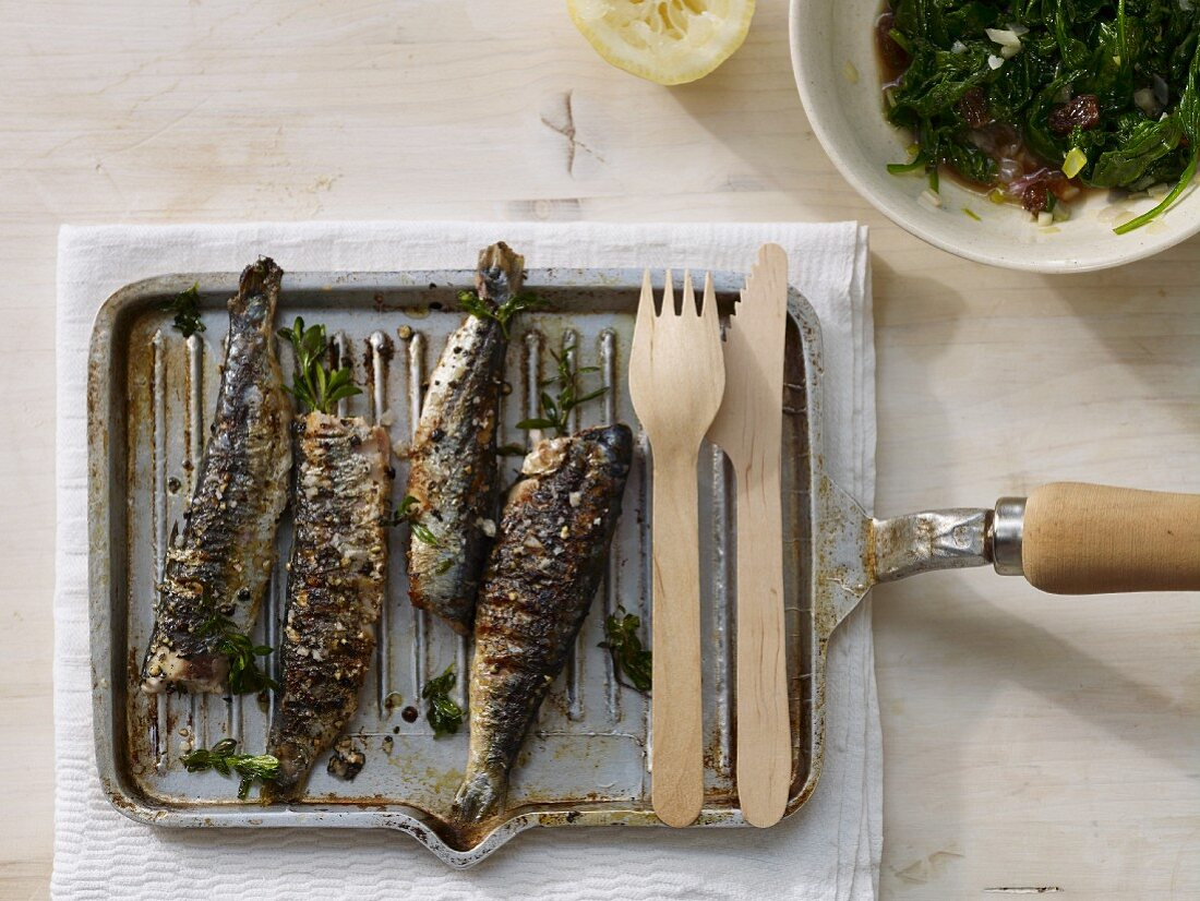 Grilled sardines with spinach, sultanas and sherry