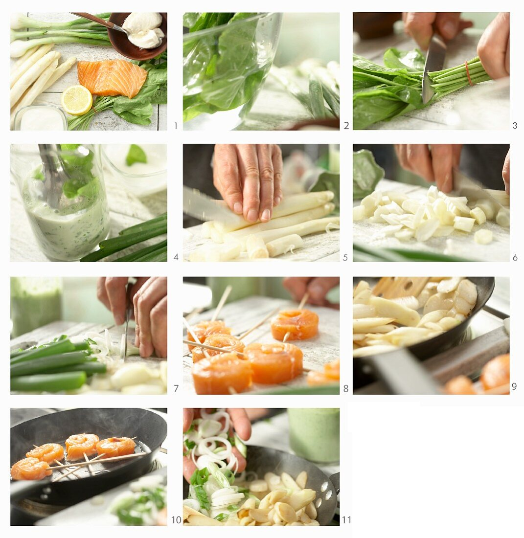 How to make salmon fillet skewers