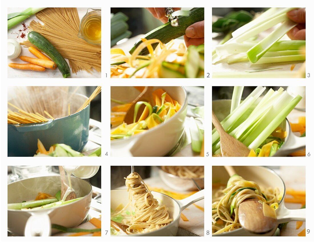 How to make colourful vegetable noodles