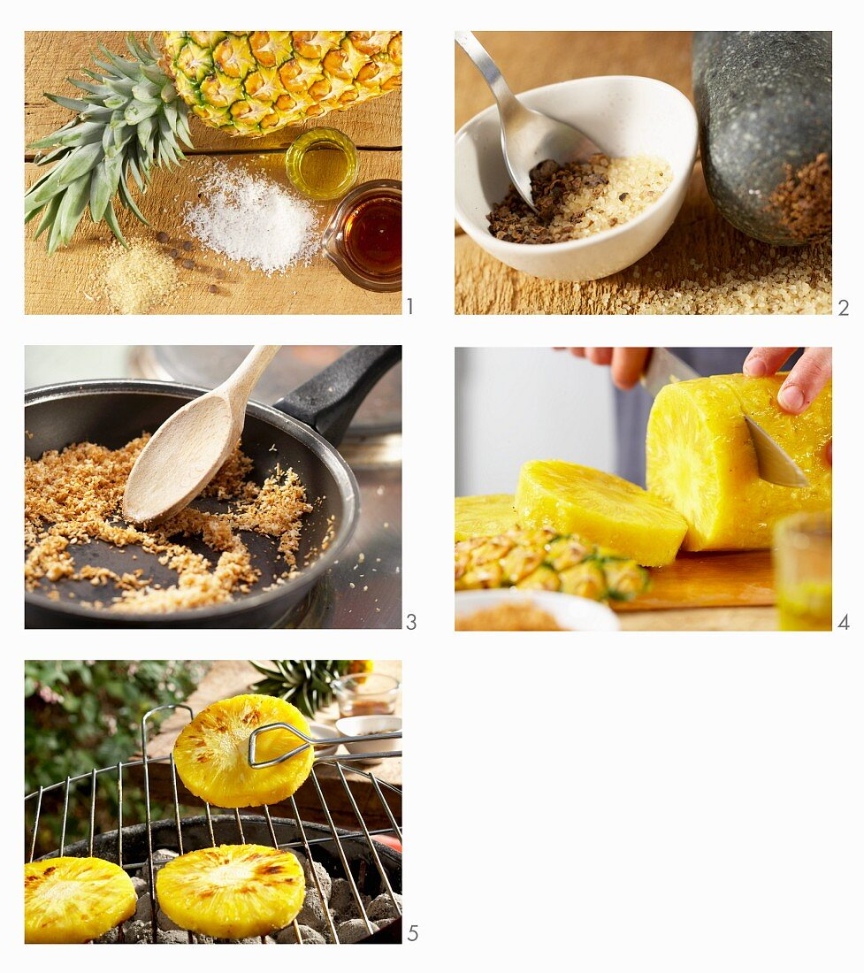 How to make grilled pineapple with pimento, coconut and maple syrup