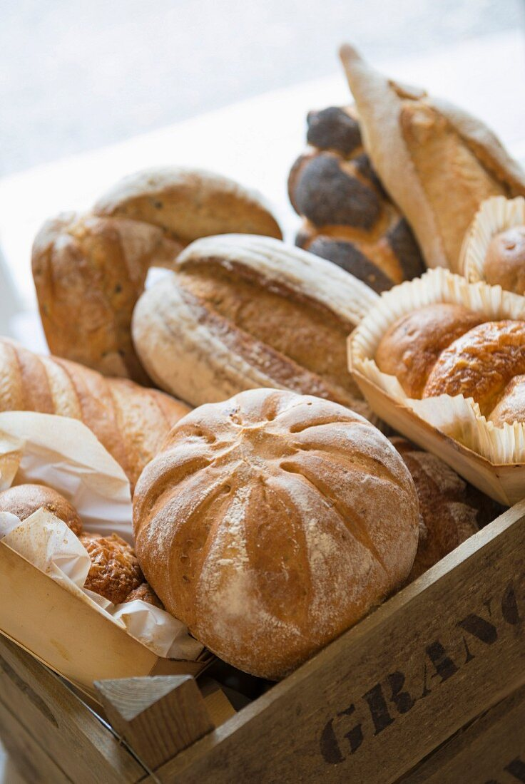 Various sorts of bread in a wooden box