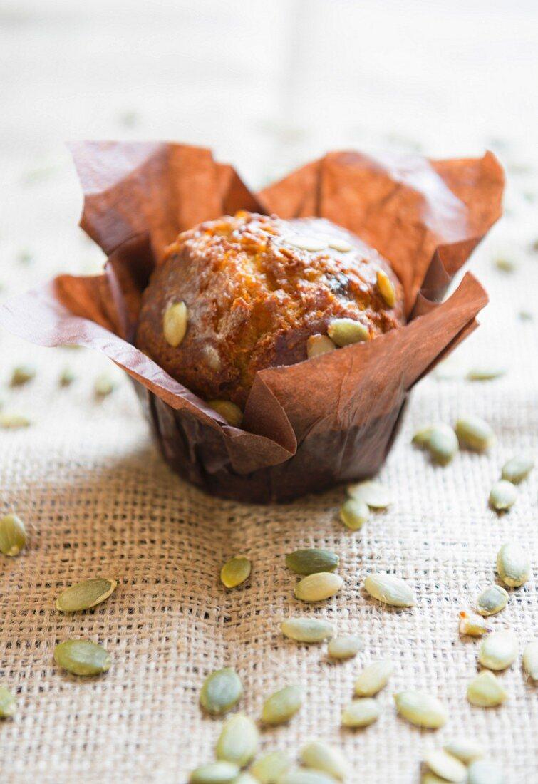 Pumpkin muffins and seeds