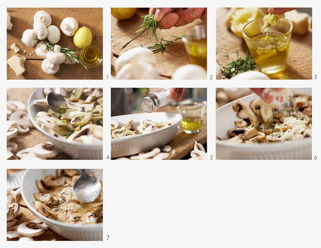 Ofengebackene Champignons mit Rosmarin und Parmesan zubereiten