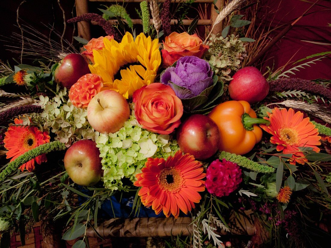 Fruit and flower arrangement
