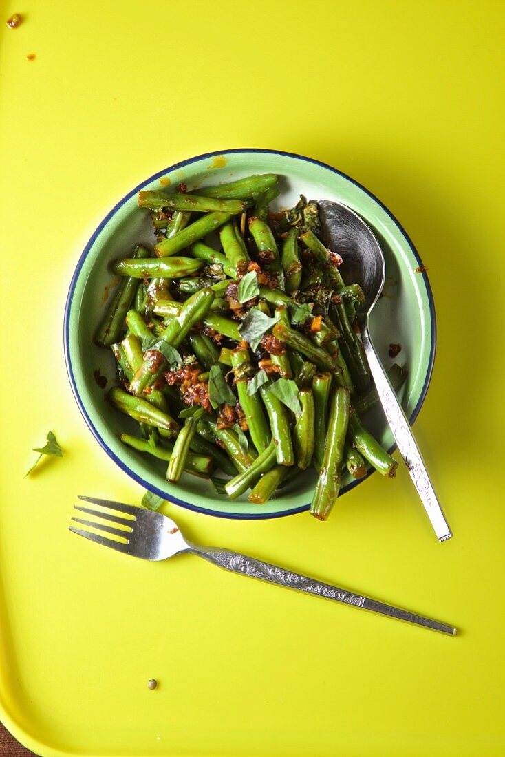 Thai Green beans on a yellow background