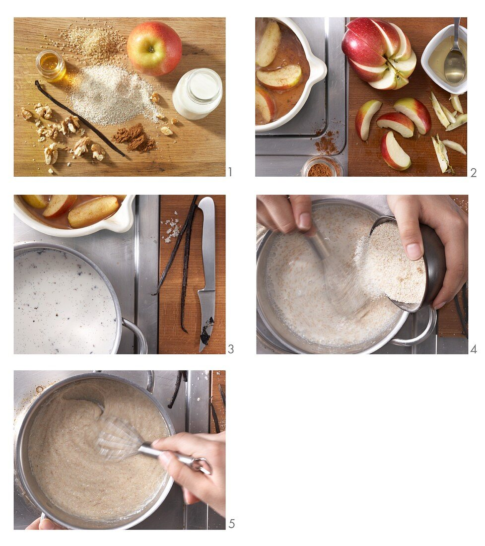 How to make wholegrain vanilla semolina with stewed apples and nuts