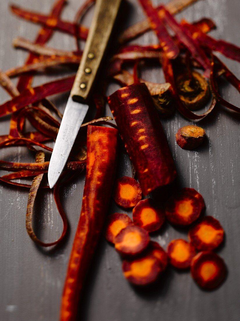 Purple carrots, peeled and cut