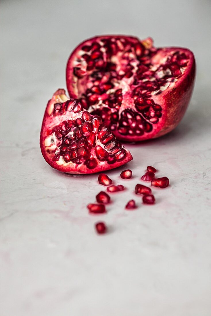 Fresh Pomegranate sliced open