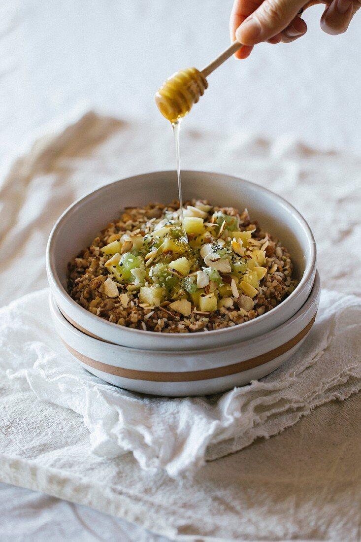 Kasha (toasted buckwheat groats, an Eastern European dish) with almond milk, pineapple and honey