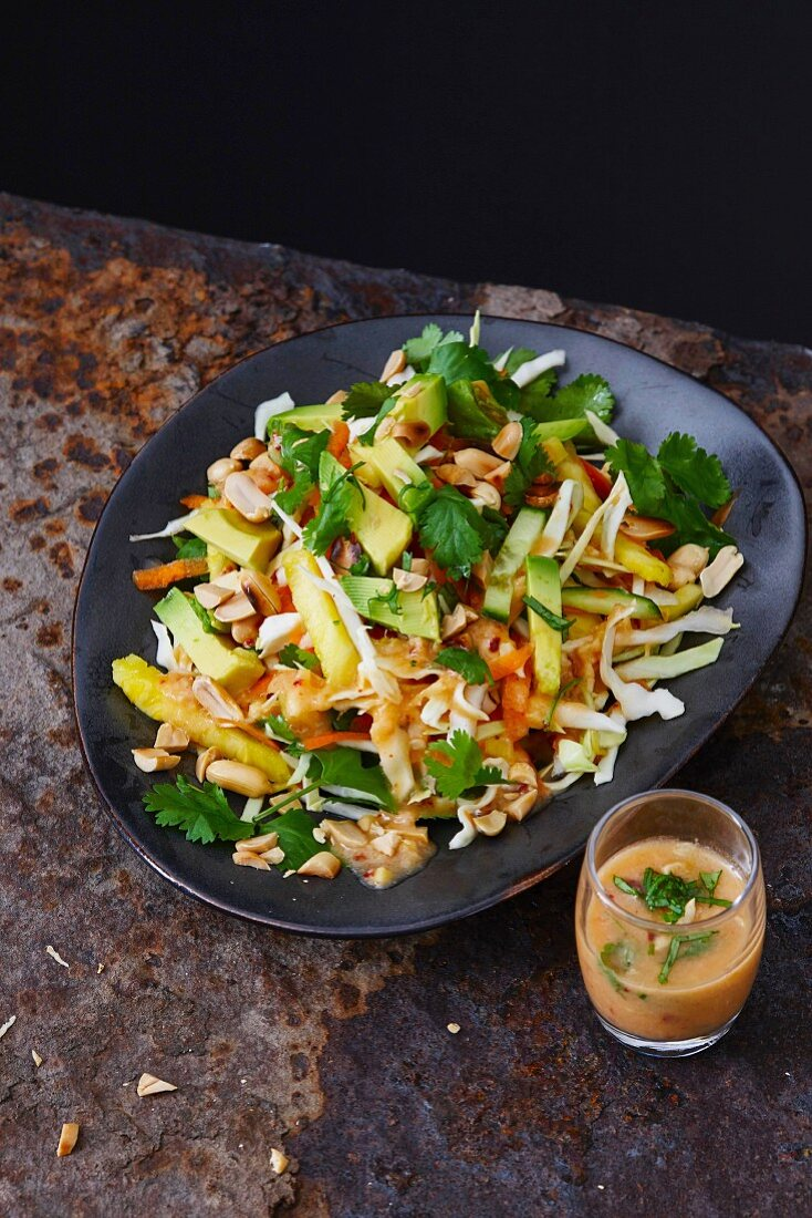 Sharp coleslaw with a peanut dressing