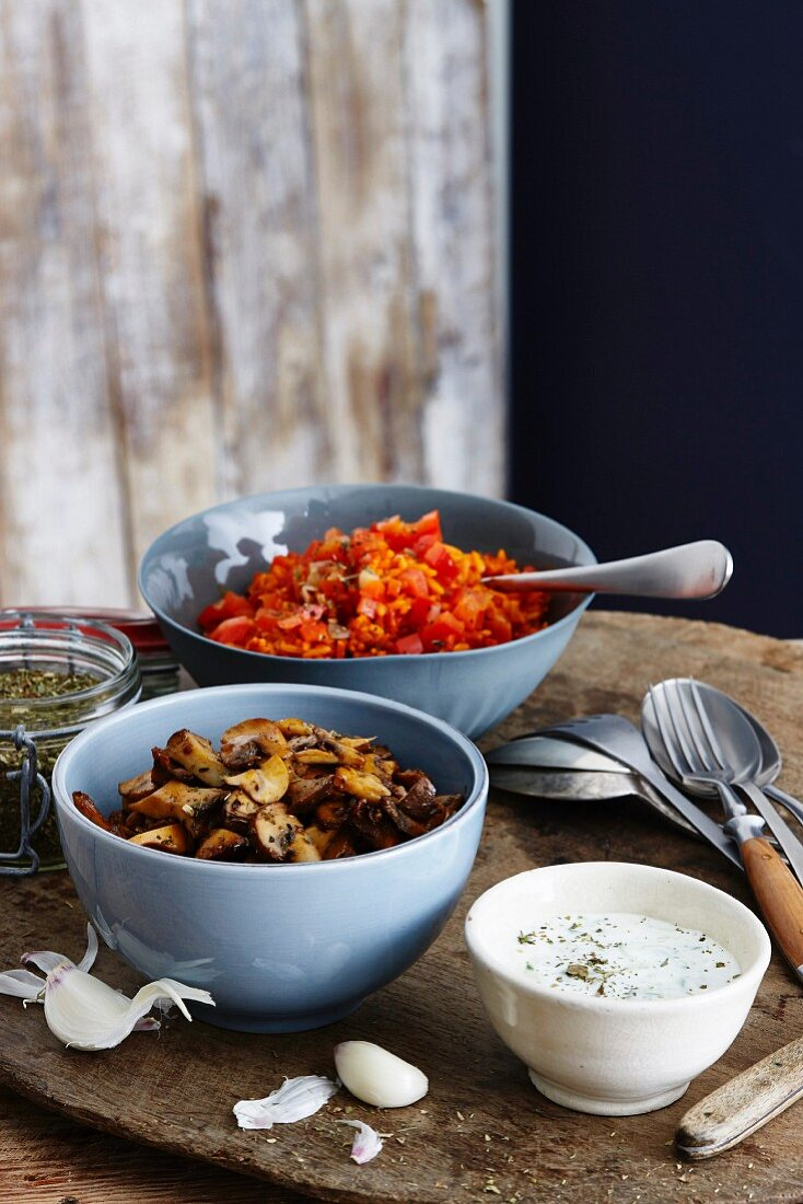 Mushroom gyros with tzaziki and peppers