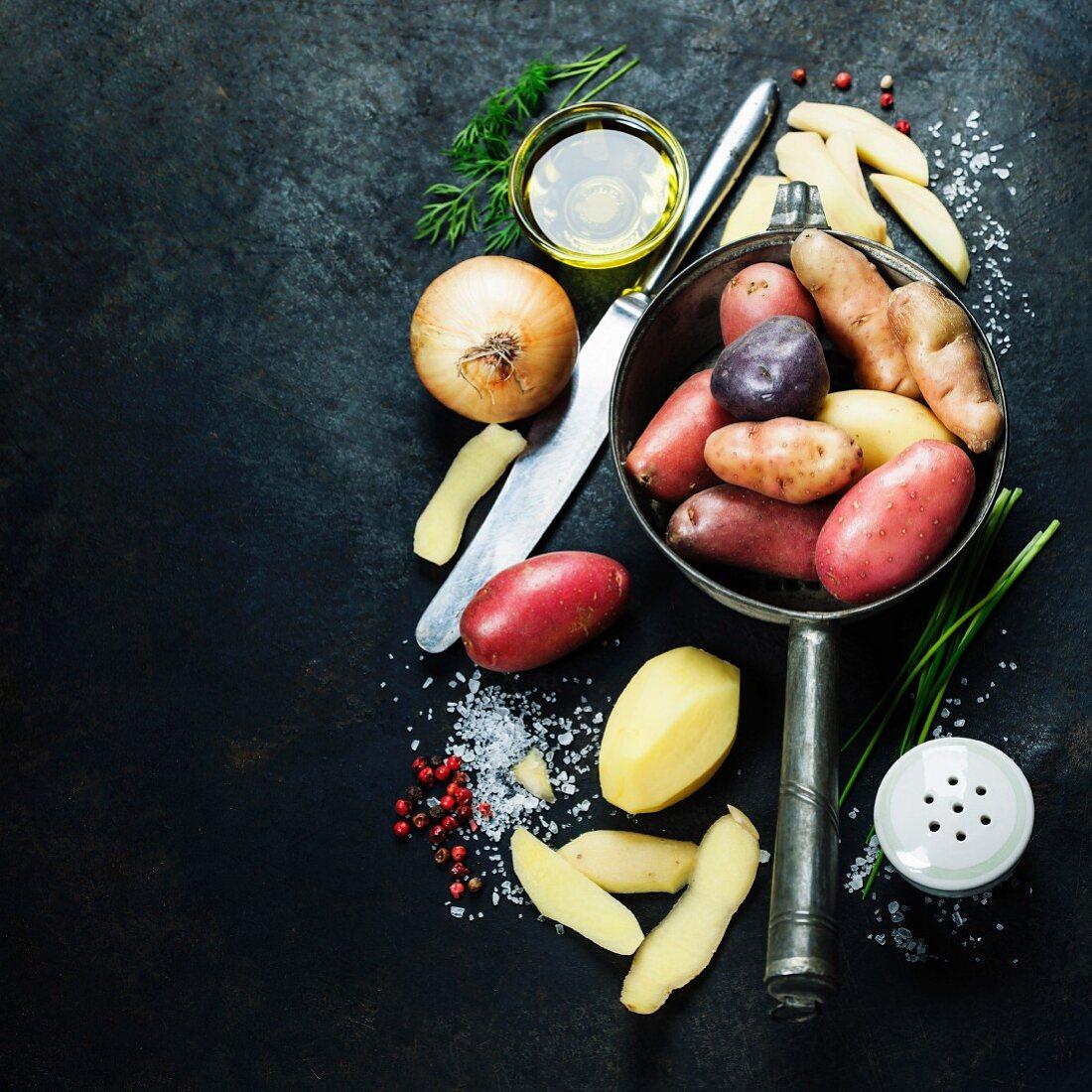 Potato preparation, fresh organic vegetables