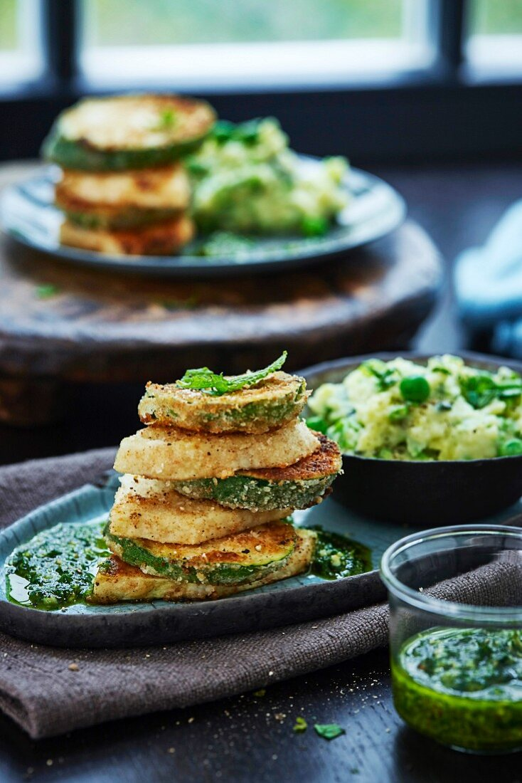 Courgette and celery tower with pesto