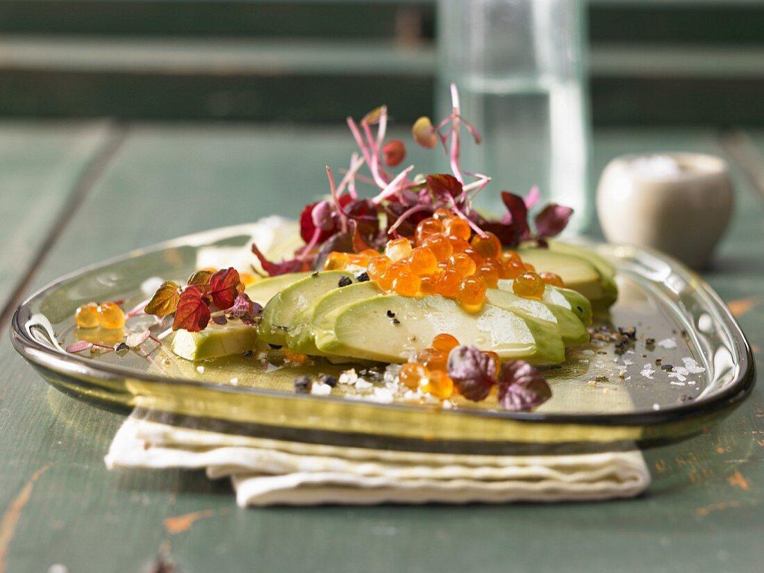 Asian avocado salad with keta caviar