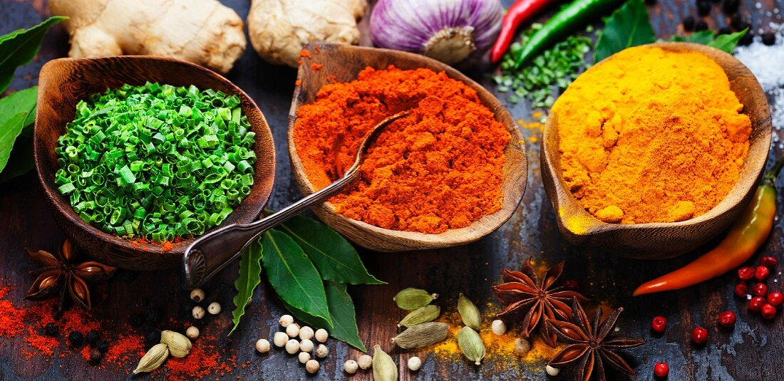 Spices and herbs over Wood. Food and cuisine ingredients