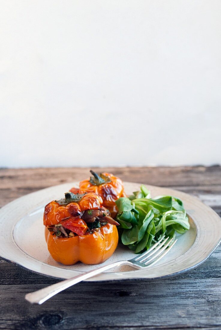 Stuffed peppers with lamb confit