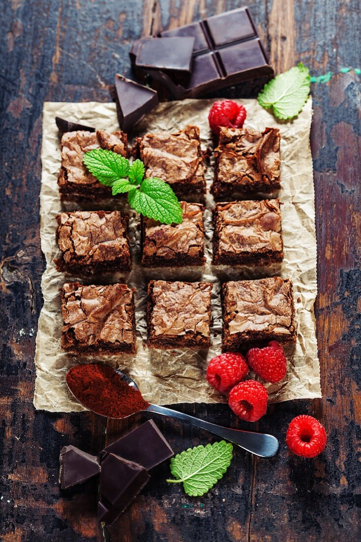 Homemade brownie pieces on the board