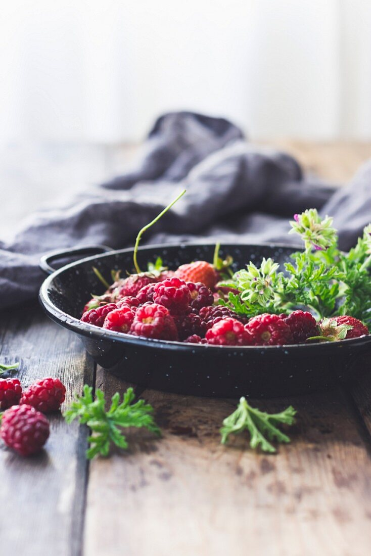 Summer Berries in a Pie Pan with Rose Geranium