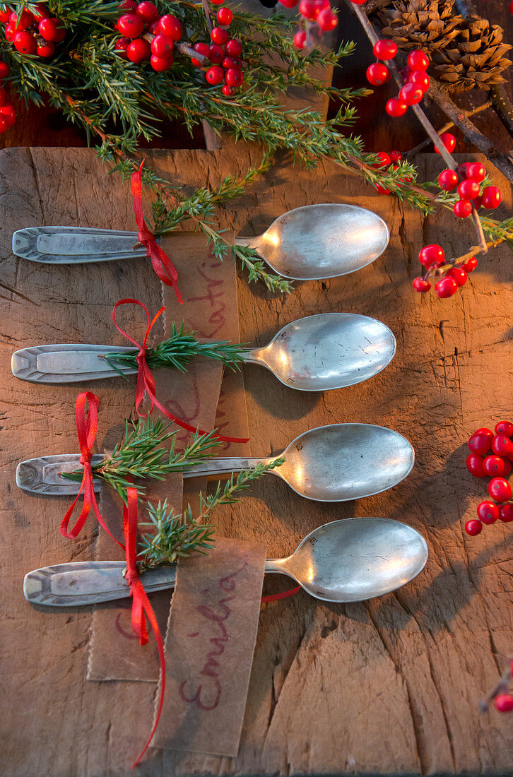 Silver spoons decorated with juniper sprigs and red ribbons for Christmas