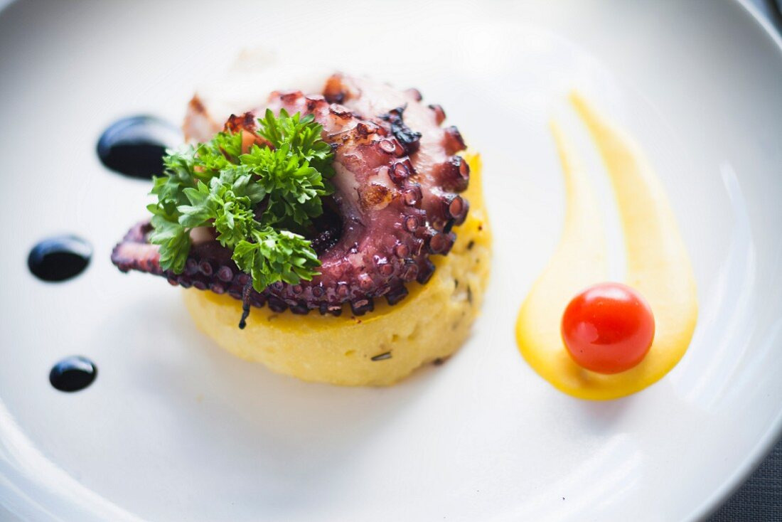 Octopus with roasted potatoes and balsamic vinegar