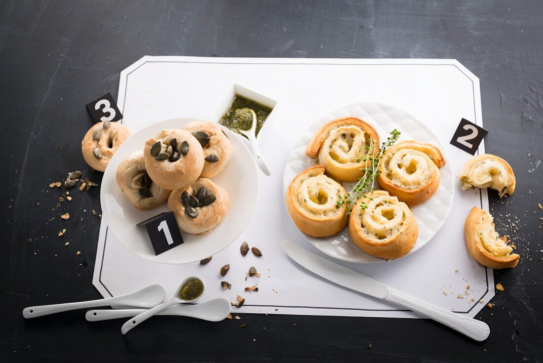 Mini bagels and yeast bread snails