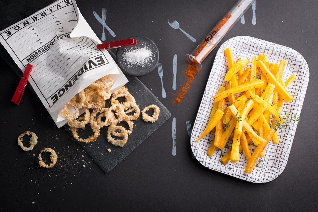 Crispy onion rings and yellow carrot sticks