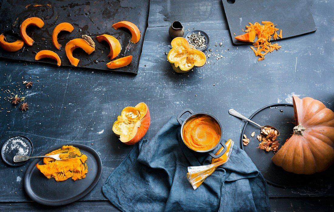 Sliced pumpkins, baked pumpkin wedges, pumpkin sticks and pumpkin mash