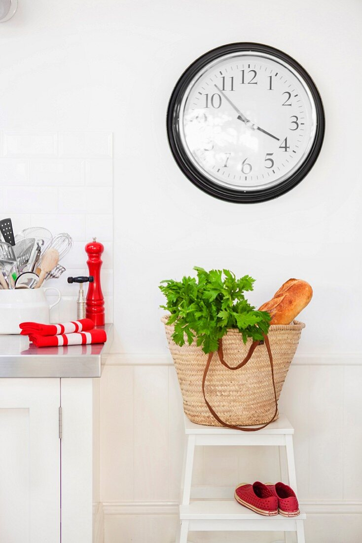 Parsley and bread in bag below clock in kitchen