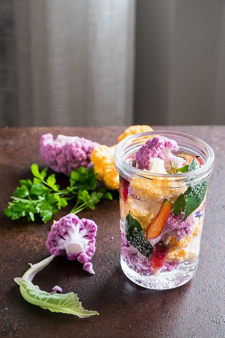 Colourful pickled cauliflower florets