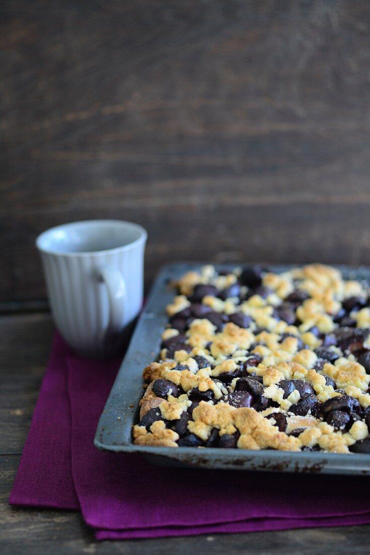 Blueberry streusel cake on a baking sheet