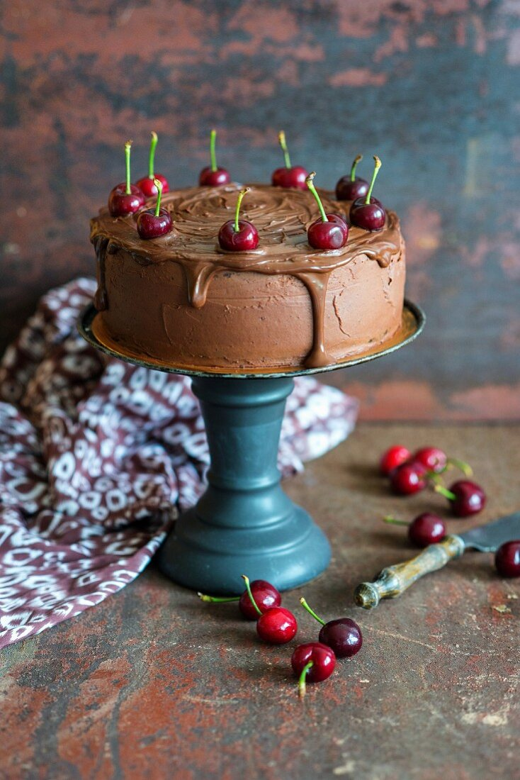 Chocolate Cherry Torte with a Slice Removed