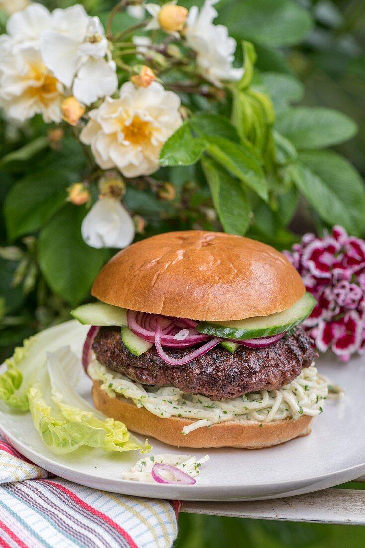 Chuck steak burger with celery remoulade