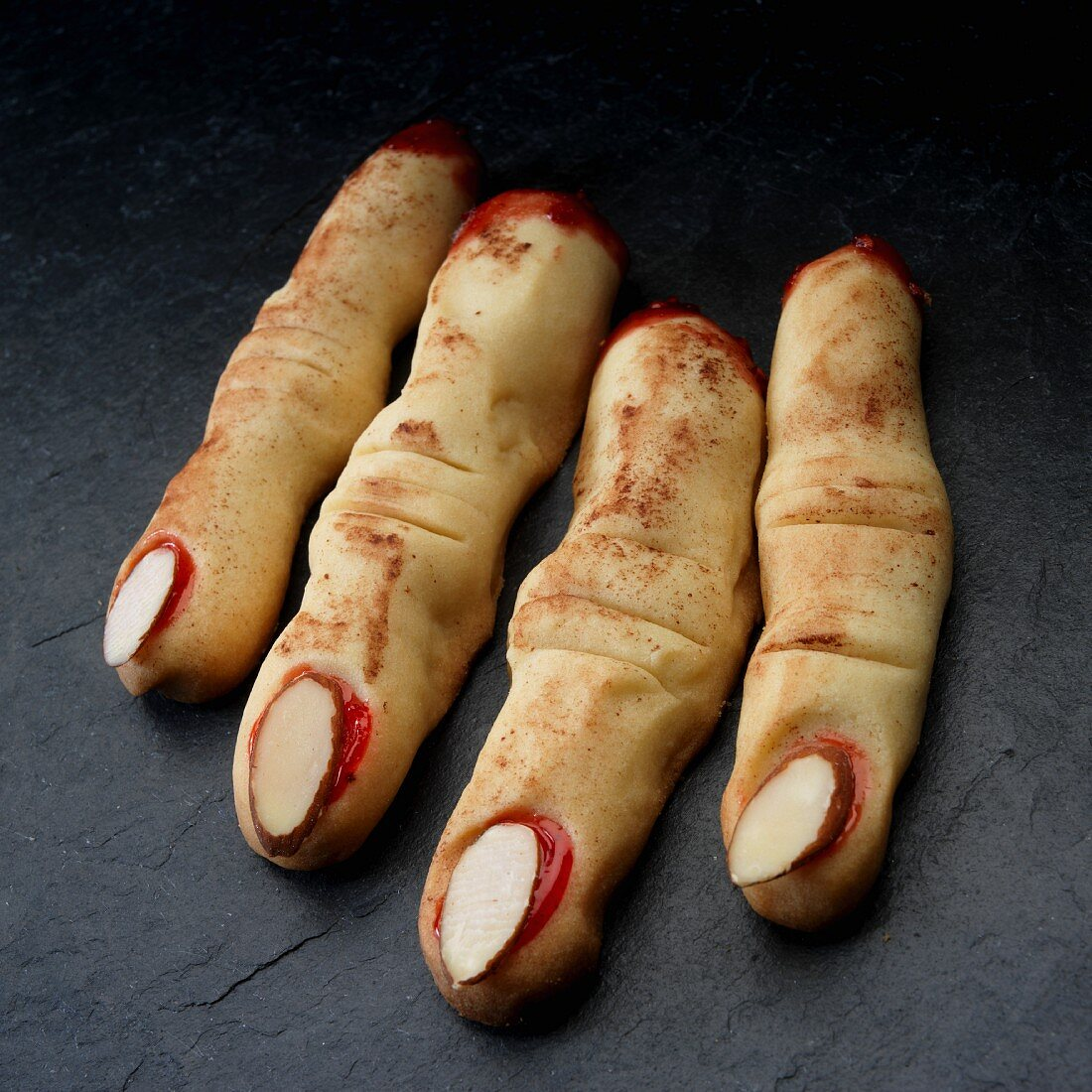 Halloween Fingers made with shortbread