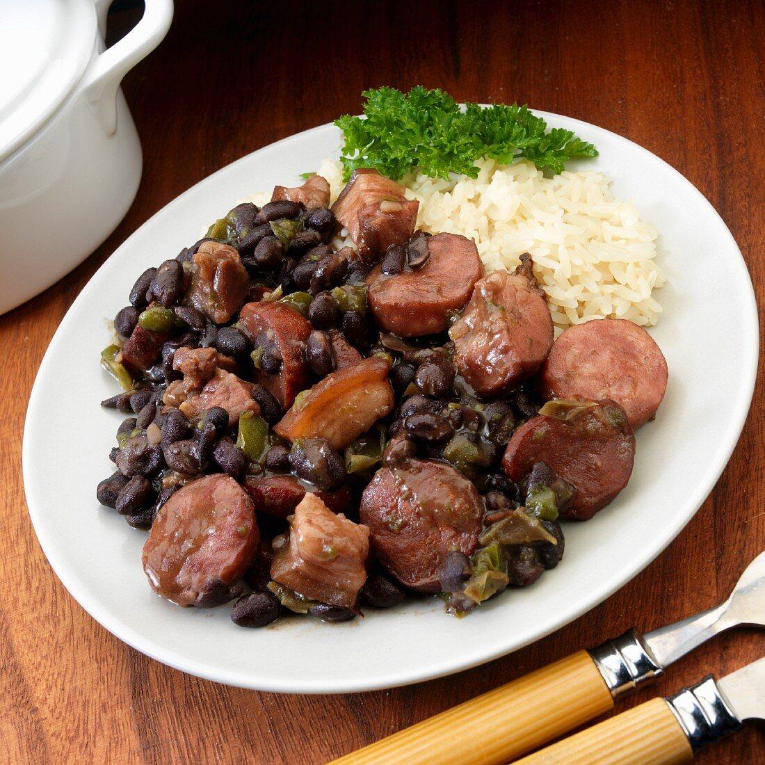 Brazillian Feijoada with black beans, chorizo, sausage, beef and smoked slab bacon
