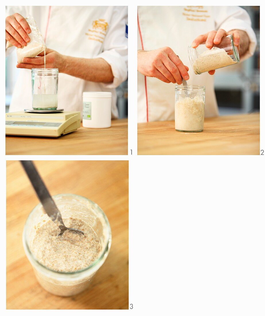 Pre-dough with natural fermentation starter being made