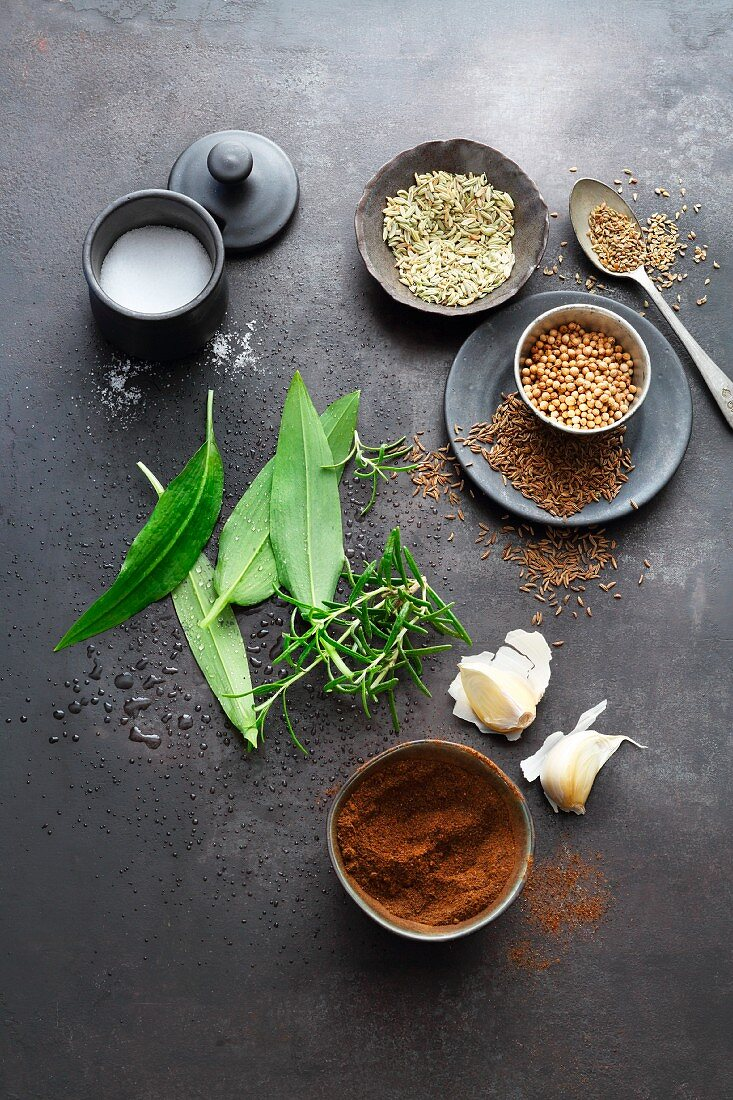 Salt, spices and seasoning ingredients for making bread