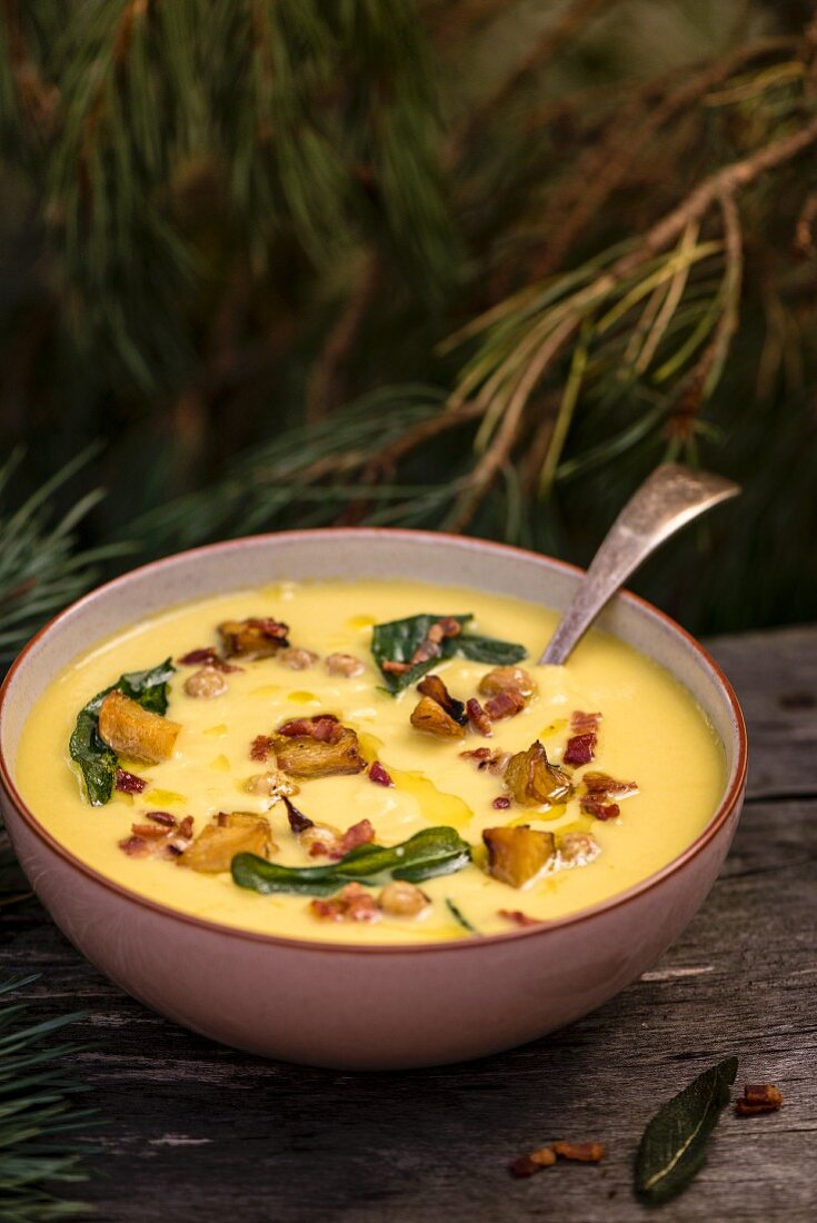 Pumpkin soup with bacon and toasted chickpeas
