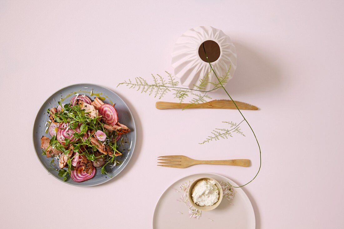Potato and beetroot salad with smoked salmon and creamy horseradish