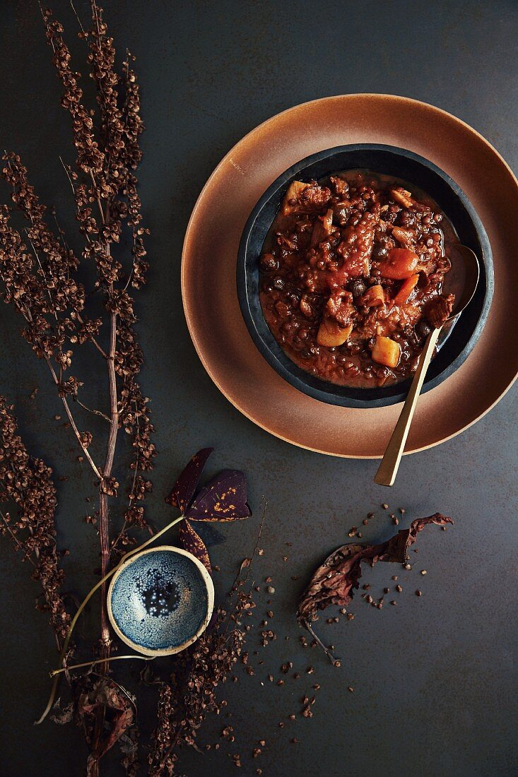 Spicy lamb stew with lentils