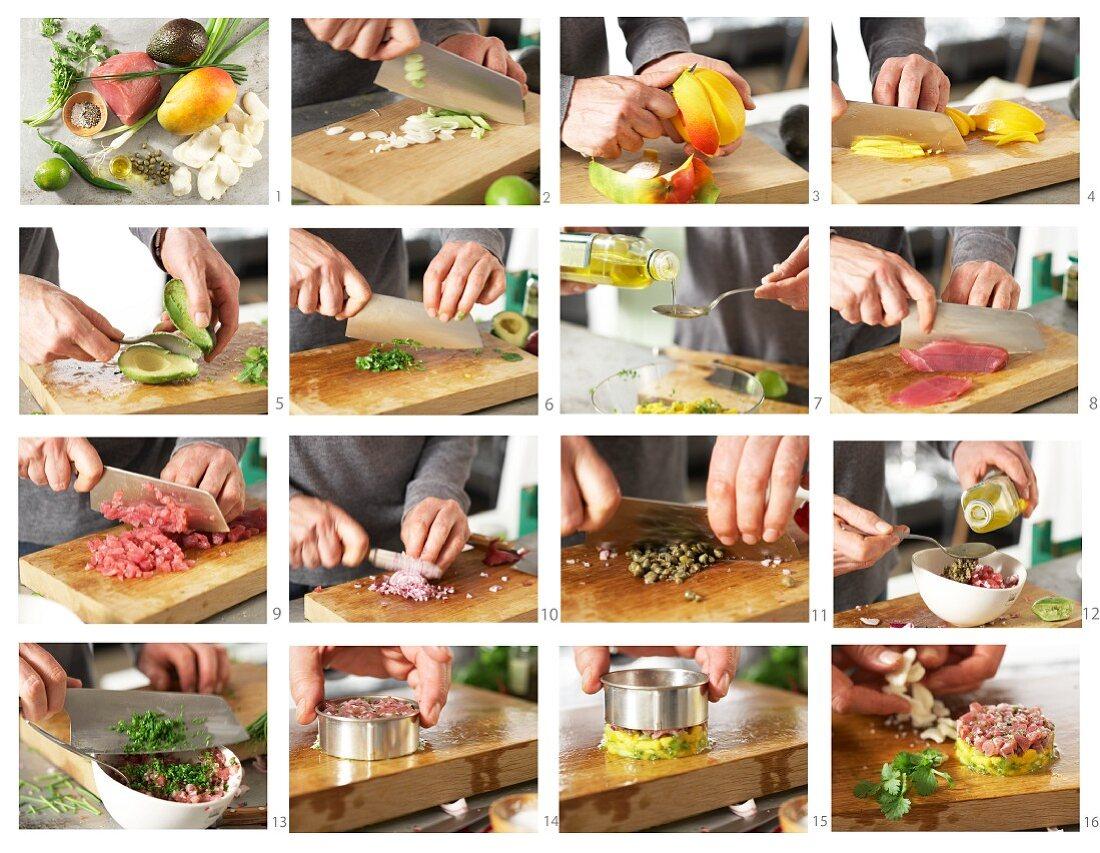 How to make tuna tartare with coriander and a mango salad