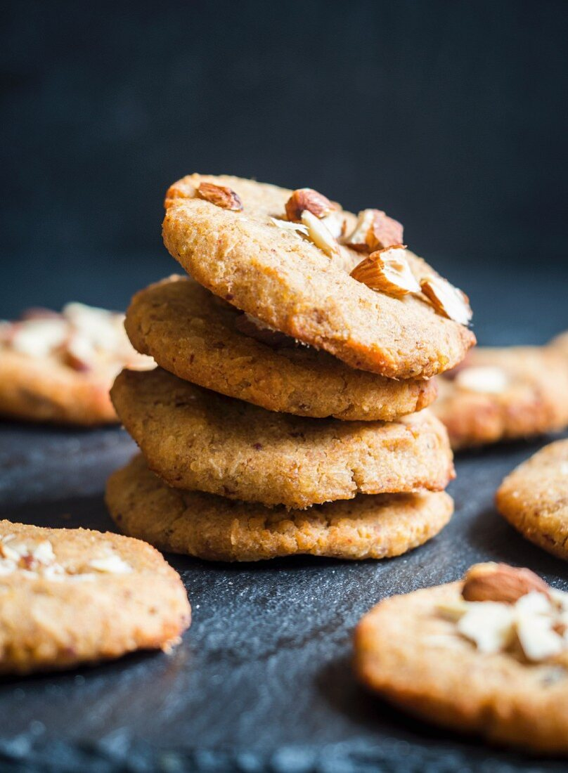 Homemade gluten and sugar free flowerless millet coconut almont cookies