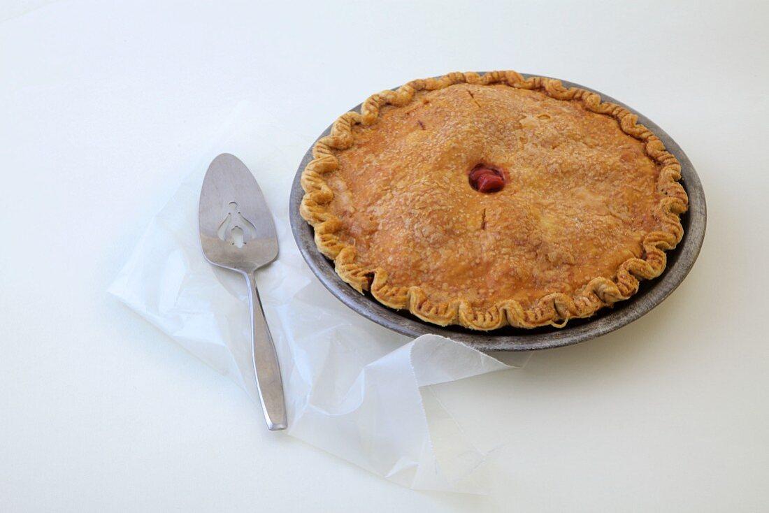 Sour Cherry Pie on a parchment paper