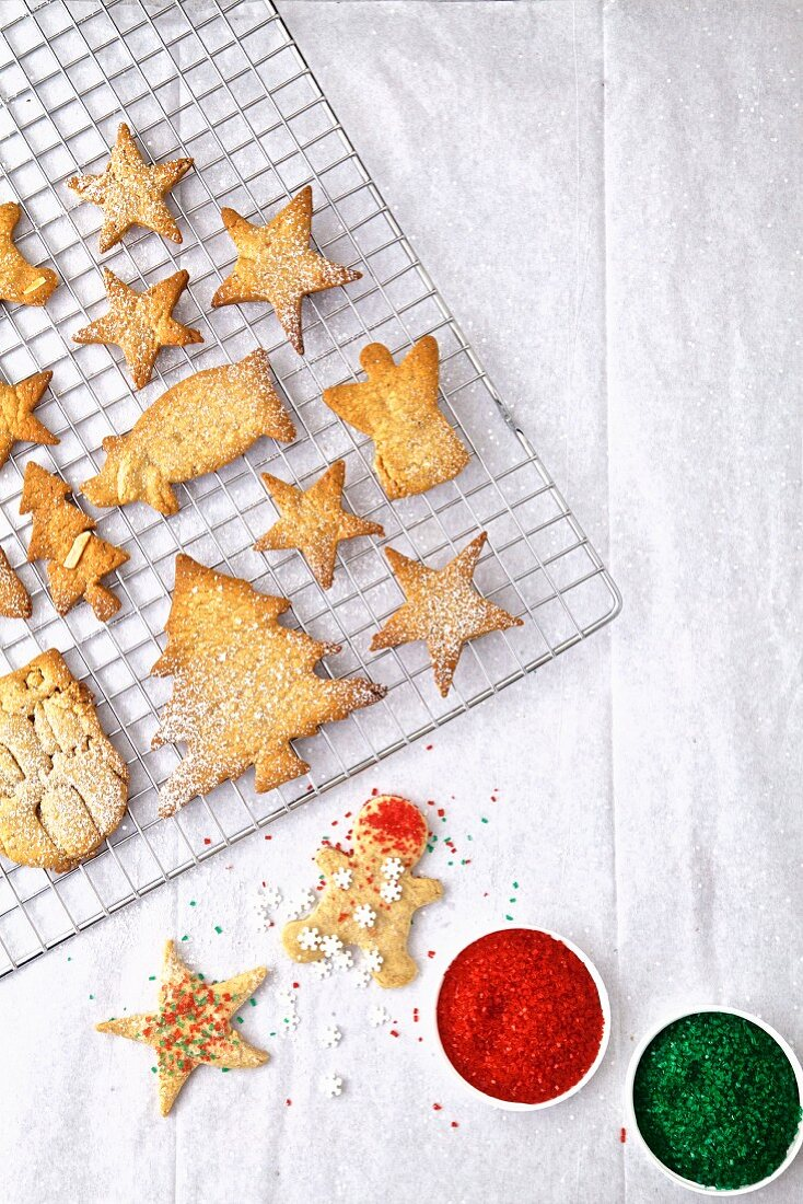 Baking colorful Christmas cookies