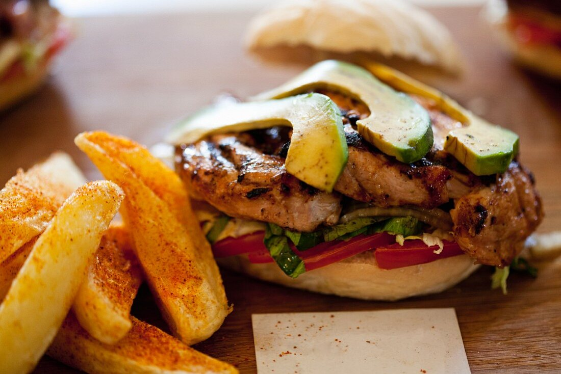 Chicken and Avocado Prego Roll with potato wedges
