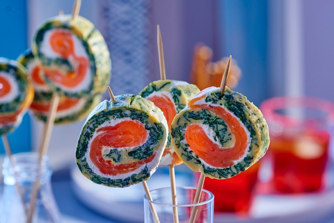Omelette rolls with wasabi and smoked salmon (party food)