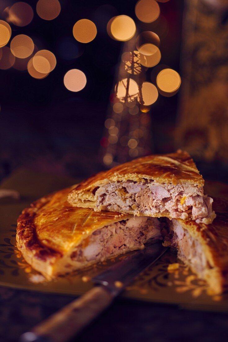a festive torte filled with foie gras