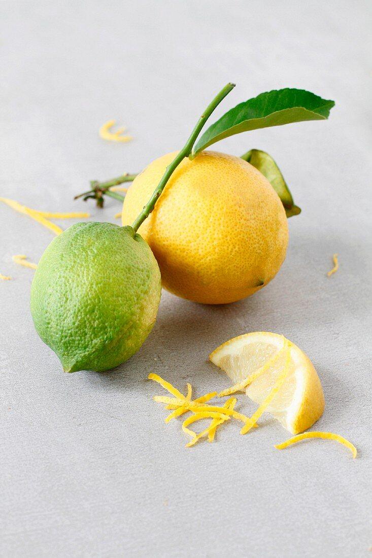 Lemons whole sliced and zested